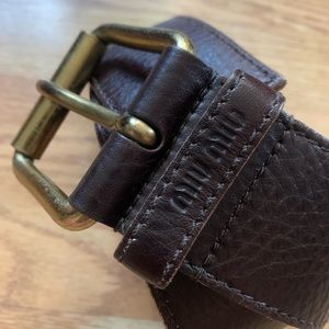 Miu Miu Wide Brown Leather Belt Brass Buckle - 85